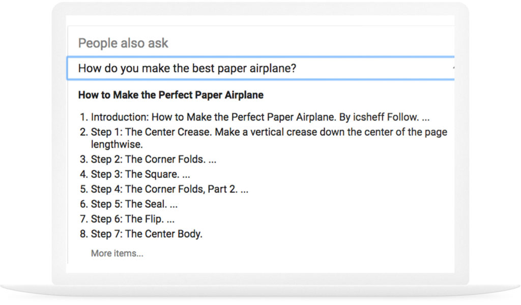 Example of Google answer box