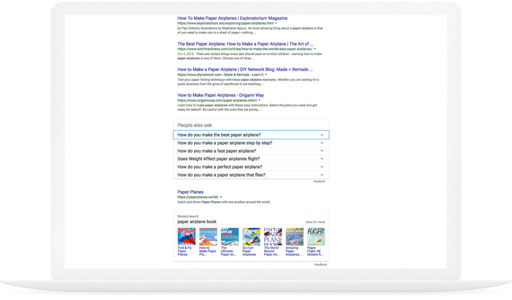 Example of Google as a landing page
