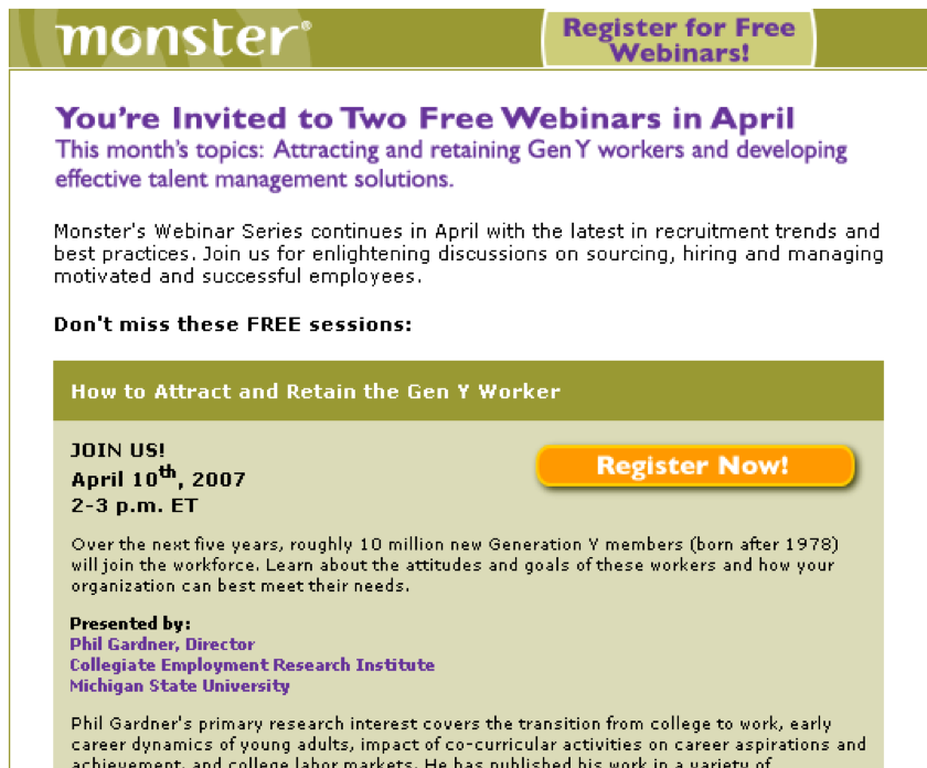 Monster.com webinar series email